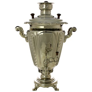 """Charcoal samovar 5 liters """"Cone"""" plated corrugated, art. 210708"""
