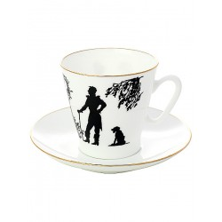"Coffee cup with saucer, shape ""Black Coffee"", pattern ""Meeting"", a series ""Silhouettes"", the Imperial Porcelain Factory"