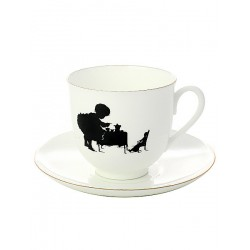 "Coffee cup with saucer, shape ""Lily"" pattern ""Teatime"", a series ""Sihlouettes"", the imperial porcelain factory"