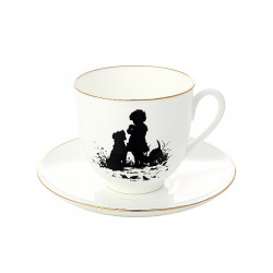 "Coffee cup with saucer, shape ""Lily"" pattern ""Friends"", a series ""Silhouettes"", the Imperial Porcelain Factory"