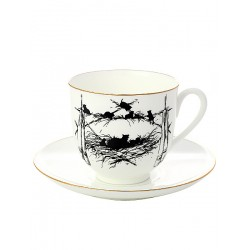 "Coffee cup with saucer, shape ""Lily"" pattern ""Kittens"", a series ""Silhouettes"", the Imperial Porcelain Factory"