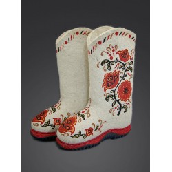 "Handmade valenki ""Khokhloma bouquet"" with sole, collection ""Traditions"" (1139)"