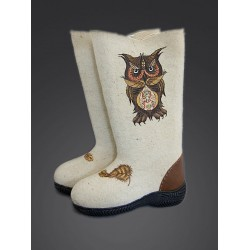 "Valenki ""Owl feather"" with sole (1160)"
