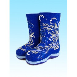 """Handmade valenki """"White currant"""" with sole (1195)"""
