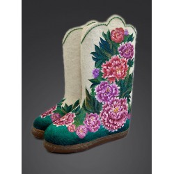 "Handmade valenki ""Peonies"" with sole (1235)"