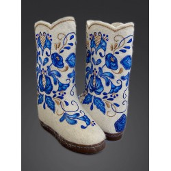 "Handmade valenki ""Gzhel"" with sole, collection ""Traditions"" (1260)"