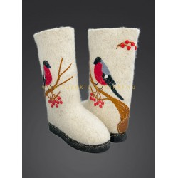 "Handmade valenki ""Bullfinches on Rowan"" (with or without sole)"