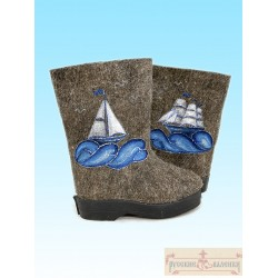 "Valenki for children ""Boats-1"" with sole (1534)"