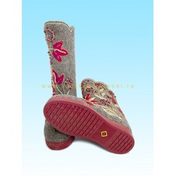 "Handmade valenki ""Red currant"" with sole (1568)"