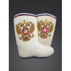 "Handmade valenki of authorship ""Russian coat of arms"" (with or without sole)"