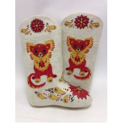 "Handmade valenki ""Khokhloma dog"", collection ""Traditions"""