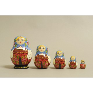 "Nesting Doll 5 pcs. hand-painted ""Kubyshka"" C-203 (155)"