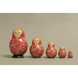 "Nesting Doll 5 pcs. hand-painted ""Kubyshka"" C-203 (335)"