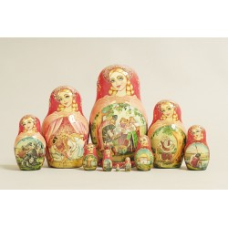 "Nesting Doll 10 pcs. hand-painted ""Miniature"" C-222 (370)"